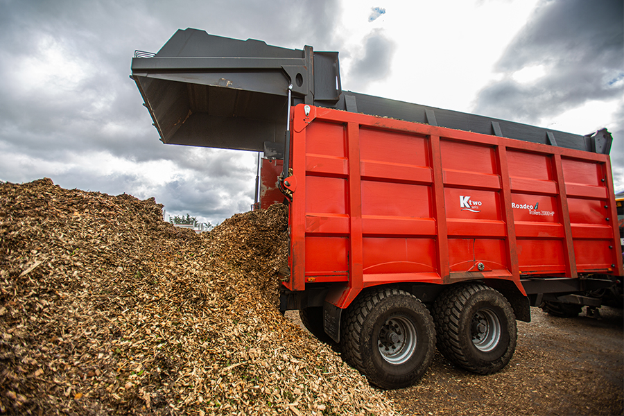 Woodchip being delivered for biomass